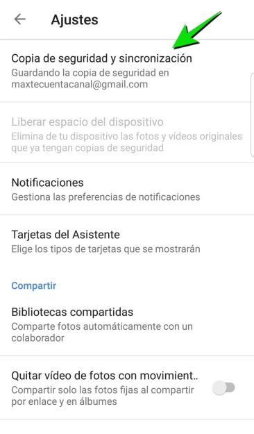 Copia seguridad y sincronización